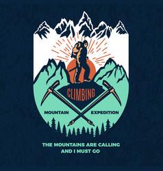 exploring vintage poster mountain climbing vector image