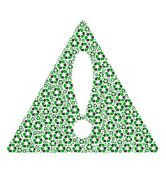 Fail triangle sign mosaic of recycle arrows items vector