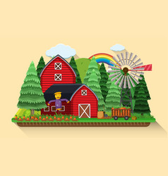 Farm scene with carrots garden and red barns vector