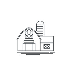 Farmhouse barn line icon outline of vector