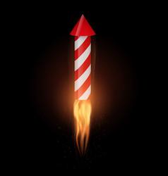 Firework rocket with flame flies up vector