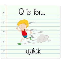 Flashcard letter Q is for quick vector