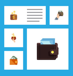 Flat icon purse set of currency wallet payment vector