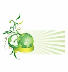 Floral background with globe vector