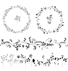 Floral endless pattern brush made of different vector image