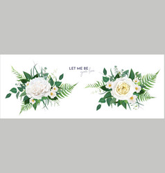 floral greenery bouquet rose leaves set vector image