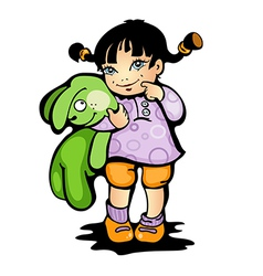 Girl with bunny vector