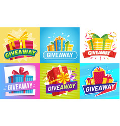 giveaway post give away gifts winner reward and vector image