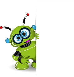 Green Robot and White Background vector image