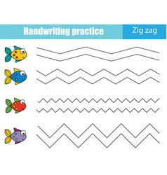 Handwriting practice sheet educational children vector