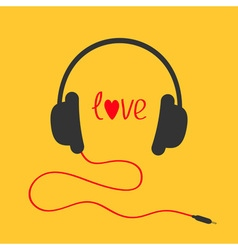 Headphones with red cord Love card Red text heart vector