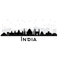India city skyline silhouette with black vector