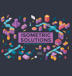 isometric city template vector image