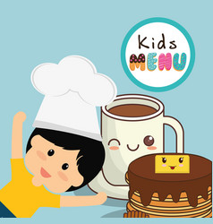 Kids menu card fresh delicious vector