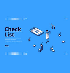 landing page check list for planning work vector image