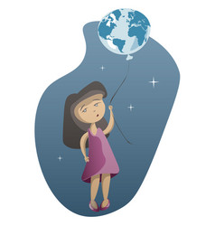 little girl with planet earth on blue background vector image