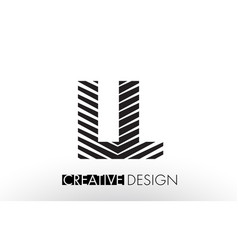 Ll l lines letter design with creative elegant vector