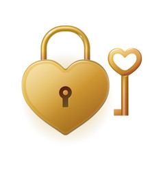 Locked bronze heart shaped padlock vector