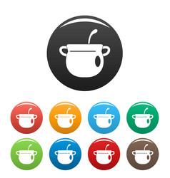 Magic cauldron icons set color vector