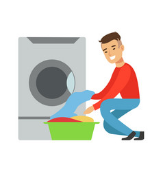 man taking out clean laundry part of people using vector image