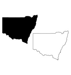 Map new south wales australia black vector