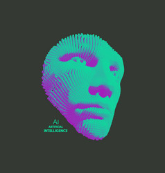 Mask artificial intelligence anonymous 3d face vector