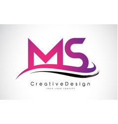 Ms m s letter logo design creative icon modern vector