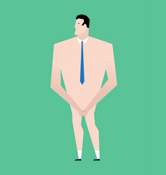 Naked businessman with tie business bankrupt vector