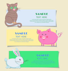 Nursery three horizontal cards with pets for kids vector