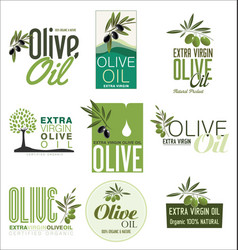 Olive oil retro vintage labels collection vector
