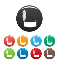 Open silver tin can icons set color vector