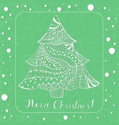 ornated white christmas spruce tree with lettering vector image