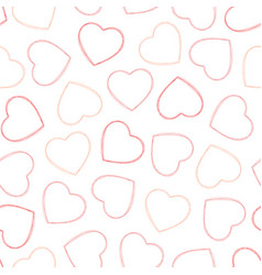 Outline red and pink hearts seamless pattern vector