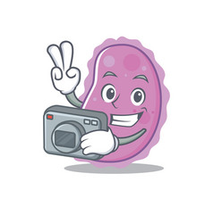 Photographer bacteria mascot cartoon style vector