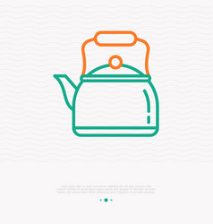 retro kettle with handle thin line icon vector image