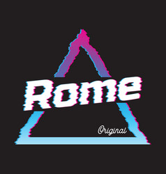 Rome city glitch effect retro vector