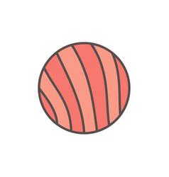 Round salmon slice flat icon on white vector