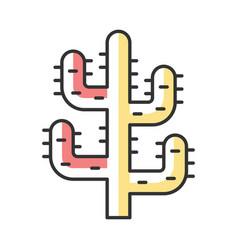 saguaro cactus color icon tree like cactus desert vector image