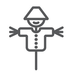 Scarecrow line icon agriculture and farm dummy vector
