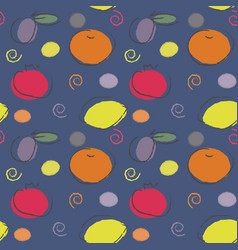 seamless colorful fruit pattern vector image