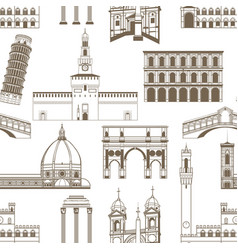 Seamless pattern with famous italian landmarks vector