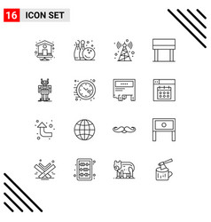 Set 16 outlines on grid for technology vector