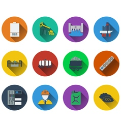 Set of energy icons in flat design vector image