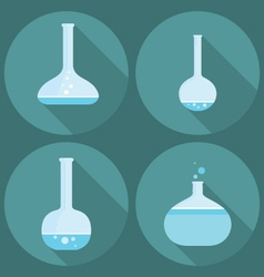 set of four flat icons medical scientific tubes pr vector image