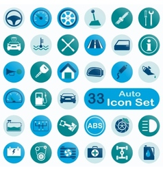 Set of round auto icons vector image