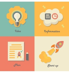 Set of start up icons for new business ideas vector