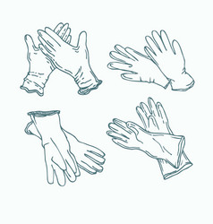 set rubber gloves for cleaning vector image