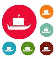 ship ancient icons circle set vector image
