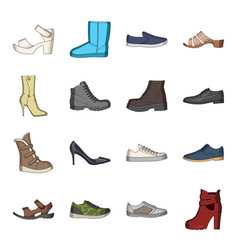 Shoes style heel and other types of shoes vector
