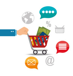 shopping cart with electronic commerce icons vector image
